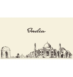 India skyline drawn sketch vector