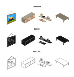 Isolated object of bedroom and room sign vector
