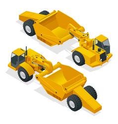 isometric wheel tractor-scraper wheel tractor vector image