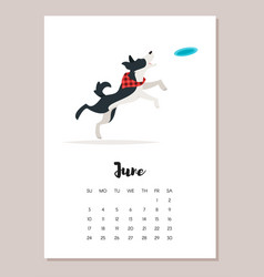 june dog 2018 year calendar vector image