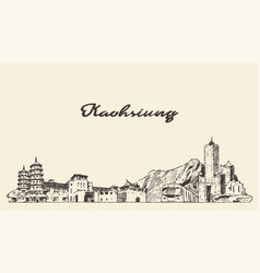kaohsiung skyline taiwan hand draw sketch vector image