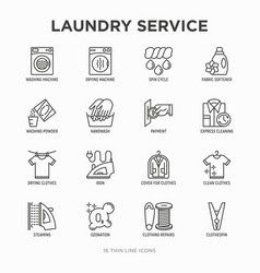 laundry service thin line icons set washing vector image