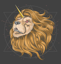 lion unicorn horn vector image