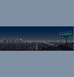 Los angeles night scene panoramic and road vector