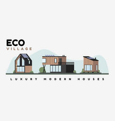 luxury modern houses flat exterior appearance vector image