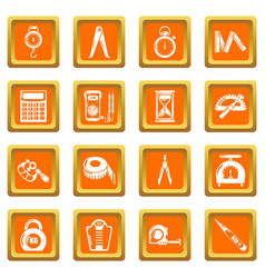 Measure precision icons set orange square vector