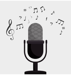 Microphone retro clef note music vector