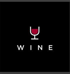 minimalist glass wine logo icon template vector image