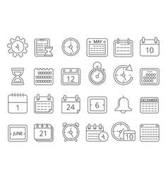 mono line pictures set time managements symbols vector image