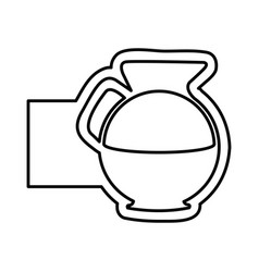 Monochrome contour with glass jar of coffee and vector