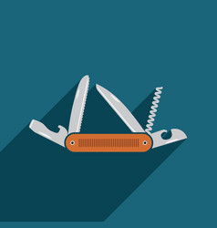 Multifunctional pocket knife icon flat design of vector