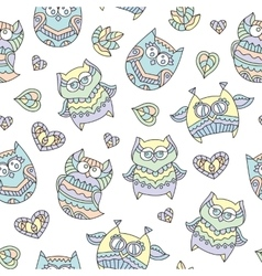 Ornamental owls seamless vector