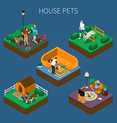 People with pets composition set vector