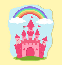 Pink princess castle rainbow fairy tale vector