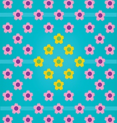 Pink Yellow Flower Blue BG vector image