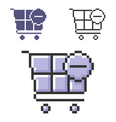 Pixel icon shopping trolley with minus sign vector