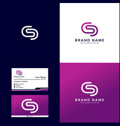 Premium logo letter s and business card color vector
