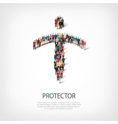 Protector people sign 3d vector