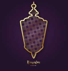 ramadan kareem with decorative arabic lamp vector image
