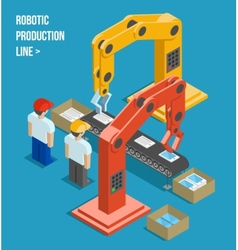 Robotic production line vector image