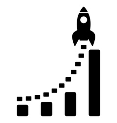 Rocket Business Start Flat Icon vector image