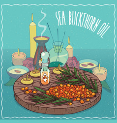 Sea buckthorn oil used for aromatherapy vector