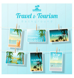 Sea postcards displayed on colorful background vector