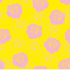 Seamless floral yellow pattern with pink roses vector image vector image
