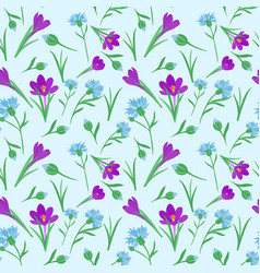 Seamless repeating pattern with spring flowers vector