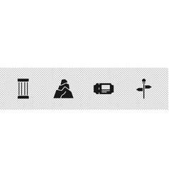 Set ancient column rock stones museum ticket vector