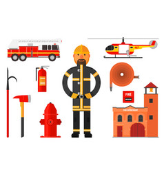 set firefighter elements fireman in uniform vector image