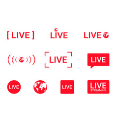 Set live streaming icons red symbols vector