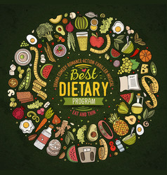 set of cartoon doodle diet food objects vector image