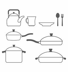 Set of dishes Kitchen utensils of lines vector image vector image