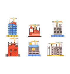 set of icons with building activity and working vector image