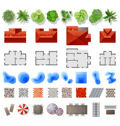 Set of landscape design elements vector
