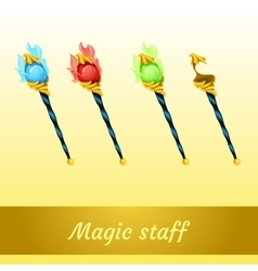 Set of magic tools magician four scepters vector image