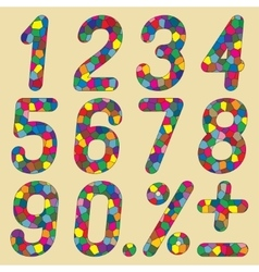 Set of numbers of mosaics vector image