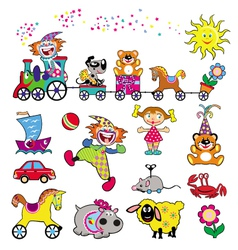 Set simple pictures with toys vector