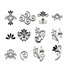 set victorian and floral monochrome icons vector image