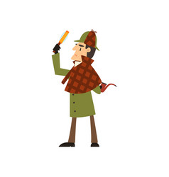 Sherlock holmes detective character with vector