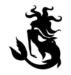 silhouette of mermaid with long hair vector image