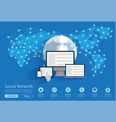 social network connecting all over world vector image