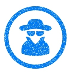 Spy Rounded Icon Rubber Stamp vector image