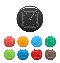 square clock icons set color vector image