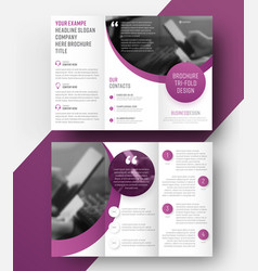 Template tri-fold brochure with a place for photo vector