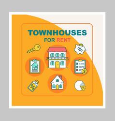Townhouses for rent social media posts mockup vector