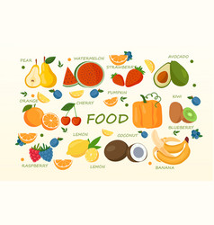 tropical fruit and graphic design elements vector image