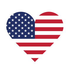 Usa flag in form a heart vector