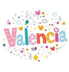 Valencia typography lettering design vector
